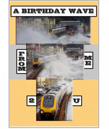 Birthday Card Train Wave