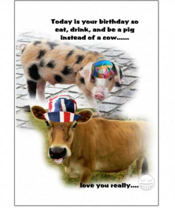 Birthday Card Pig