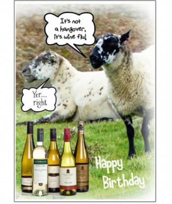 Birthday Card Sheep Wine Flu