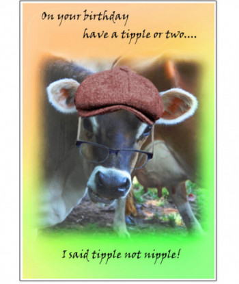 Birthday Cow Card OYBH