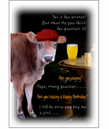Birthday Cow Card Yes