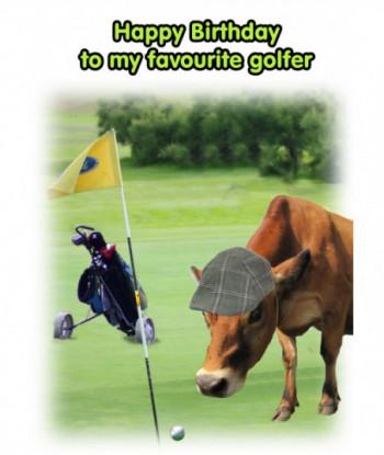 Birthday Cow Card Golf