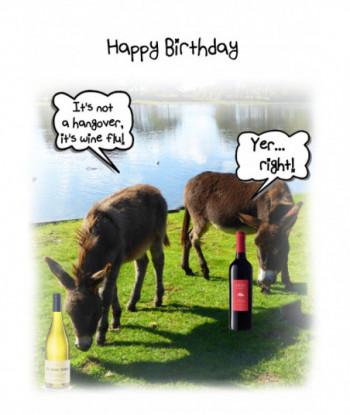 Donkey Birthday Card Wine Flu